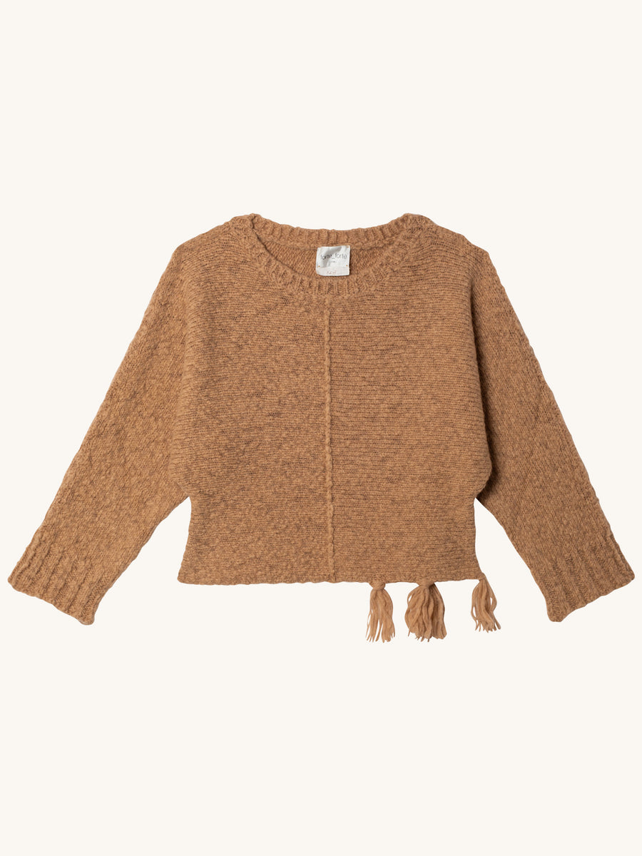 Alpaca Round Neck Sweater in Camel