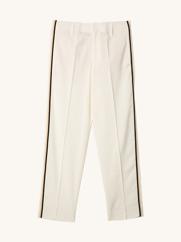 Wool White Pants with Ribbon Tape