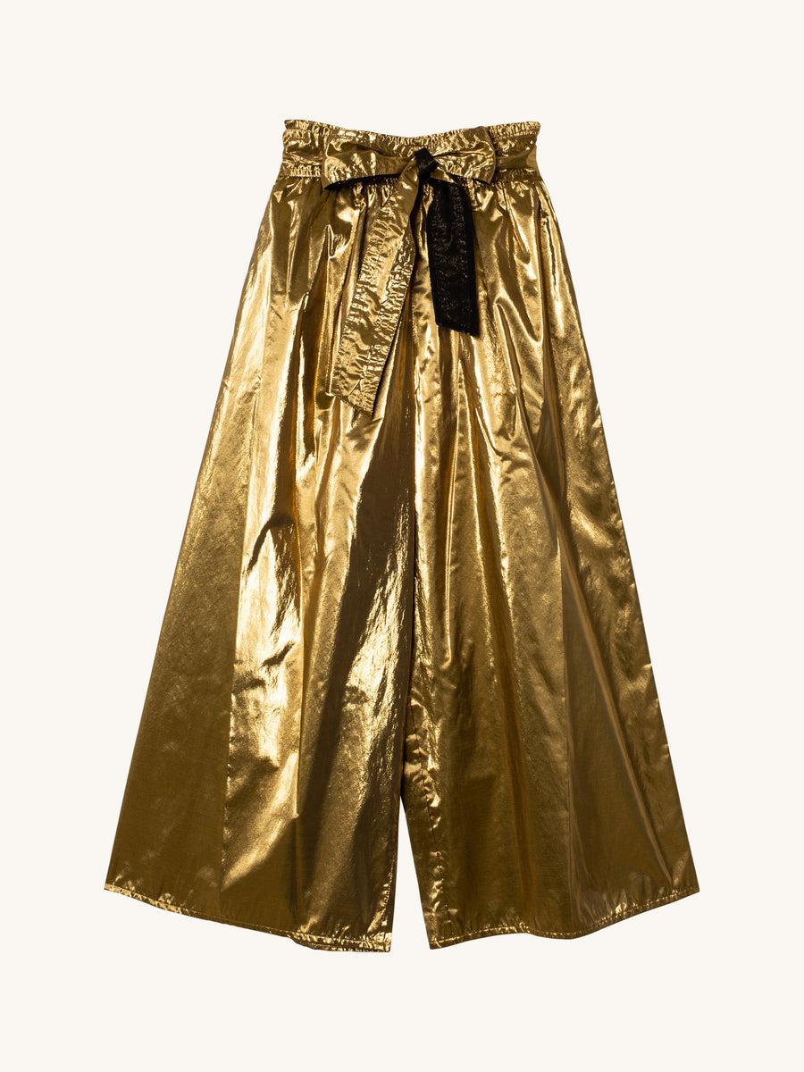 Lurex Gold Taffeta Pant with Sash