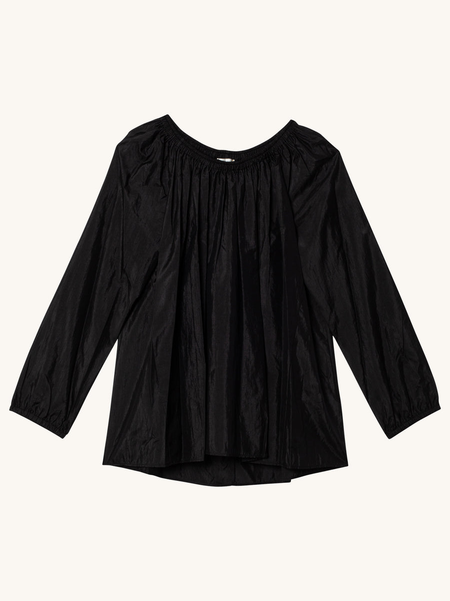 Silk Taffeta Round Neck Blouse in Black