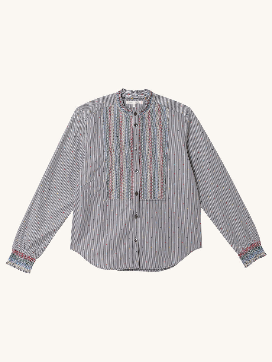 Star Striped Smocked Shirt