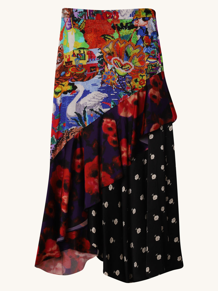 Beach Skirt in Mixed Print