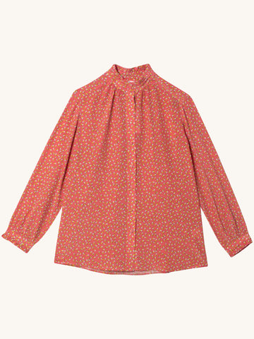Twin Heart Frilled Collar Shirt in Rose