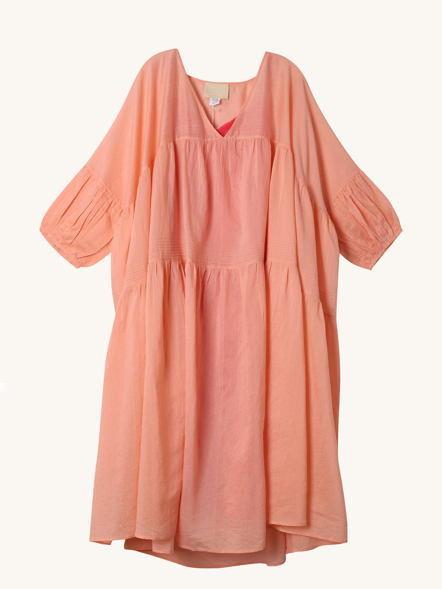 Chanderi Gypsy Dress in Coral