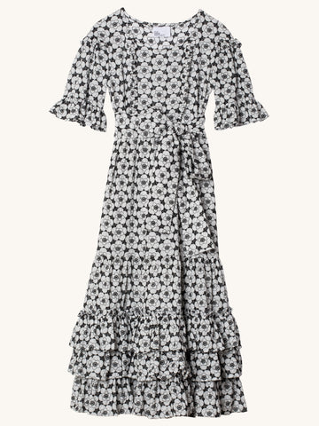 January Black & White Poppy Eyelet Dress