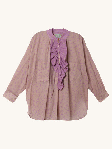 Frill Ruffle Shirt in Tan & Purple Moon Print