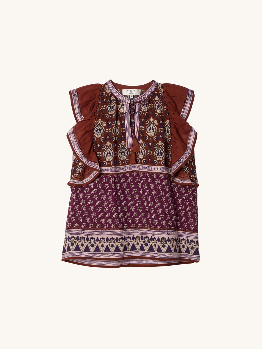 Mia Flutter Top in Rosewood