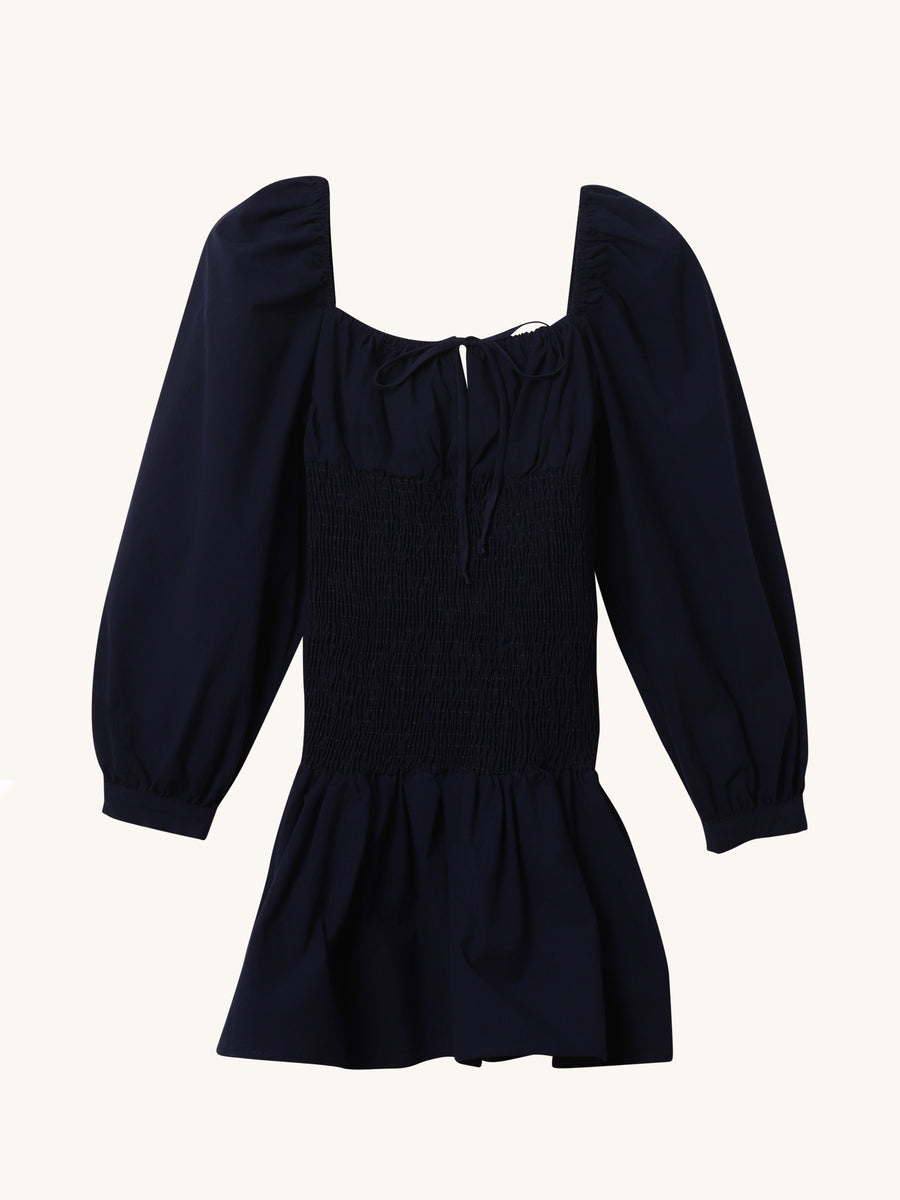 Nina Cotten Dress in Navy