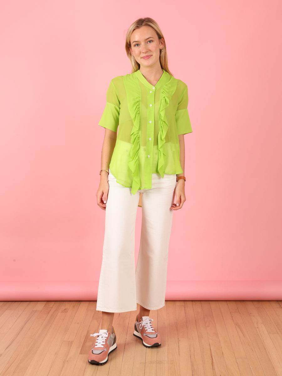 Green Short Sleeve Ruffle Shirt