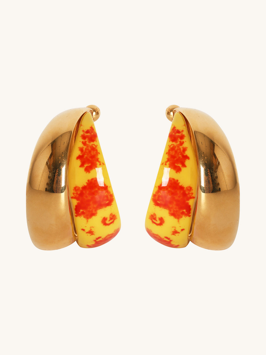 Large Twist Hoop Earrings in Yellow & Gold