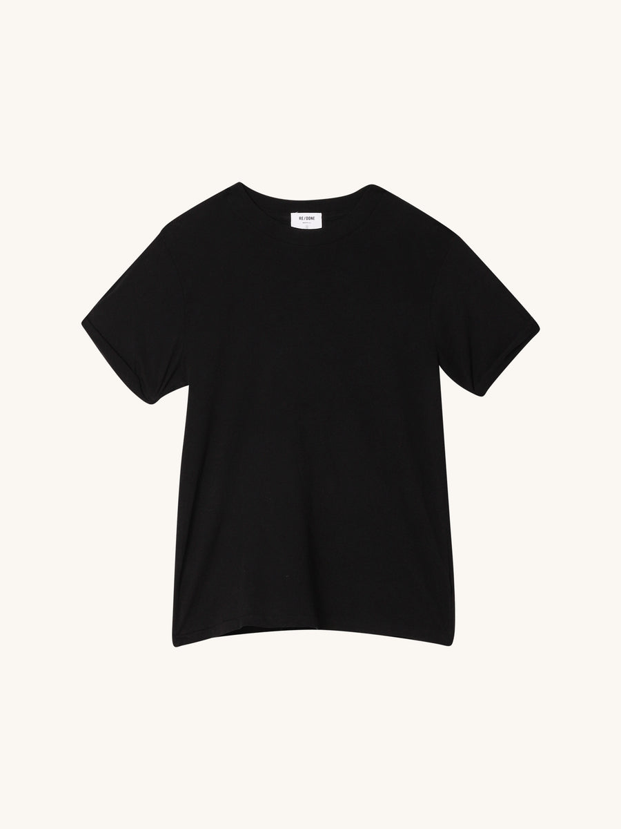 Rolled Sleeve Tee in Black