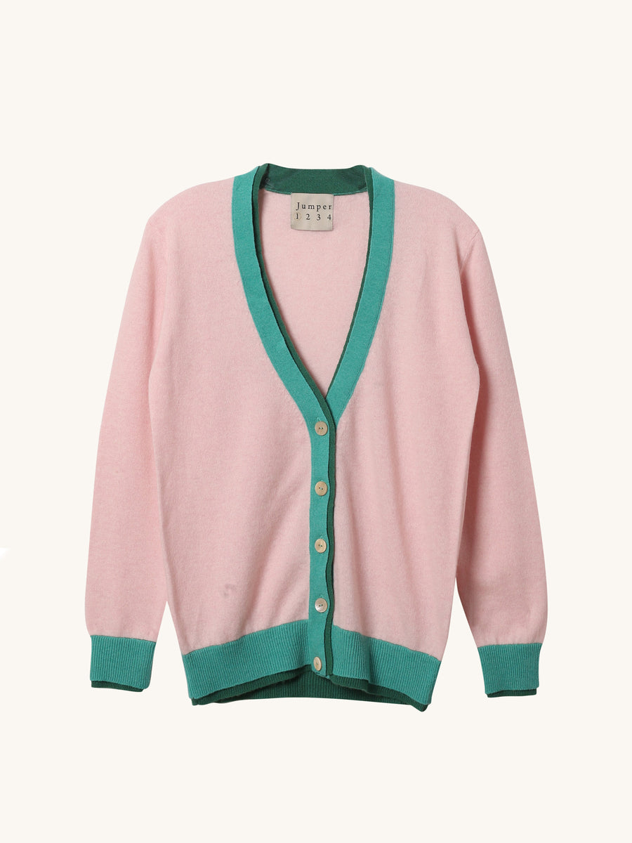 Oversized Color Block Cardi in Pink