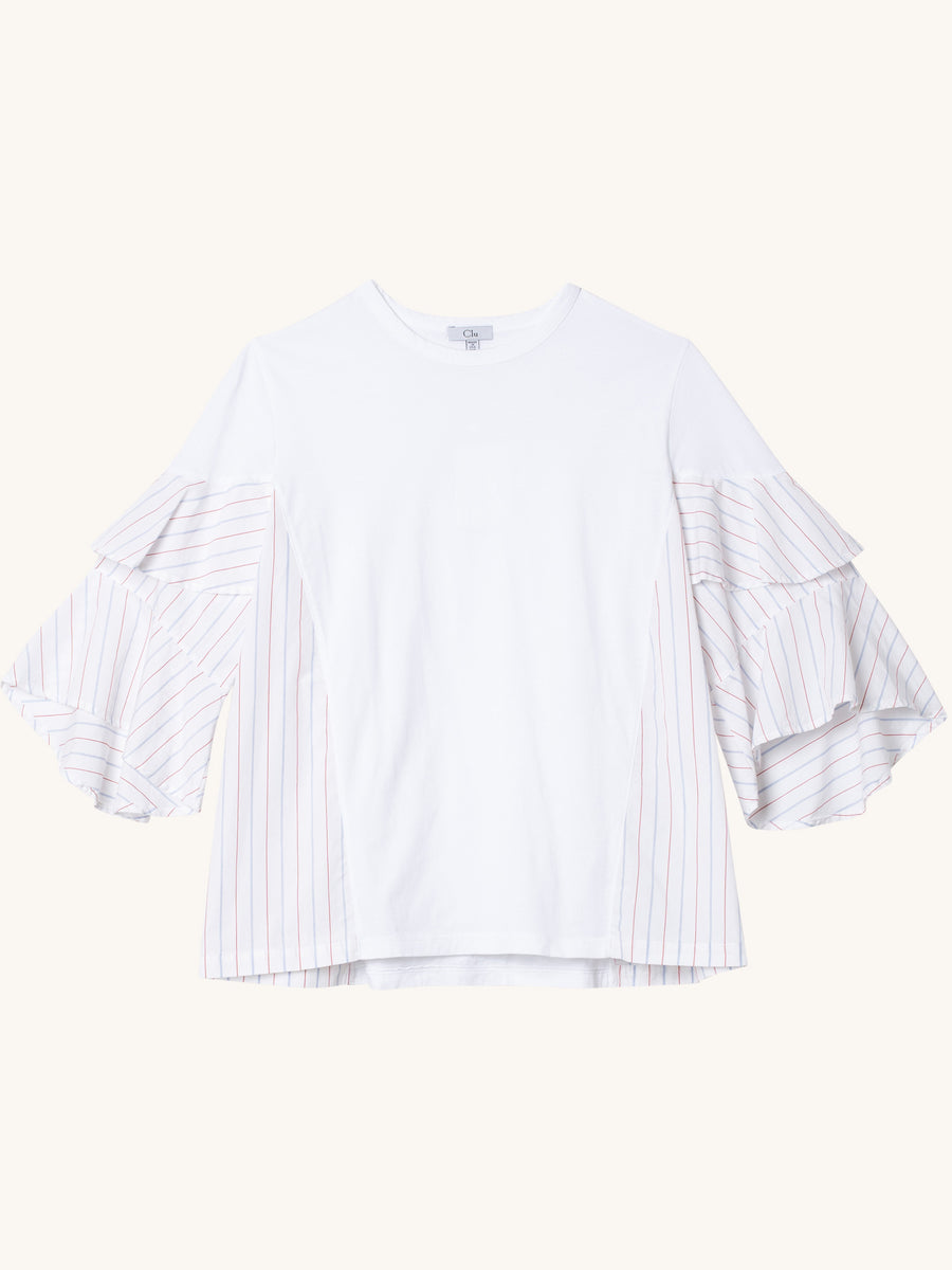 T-Shirt with Stripe Ruffle Sleeves