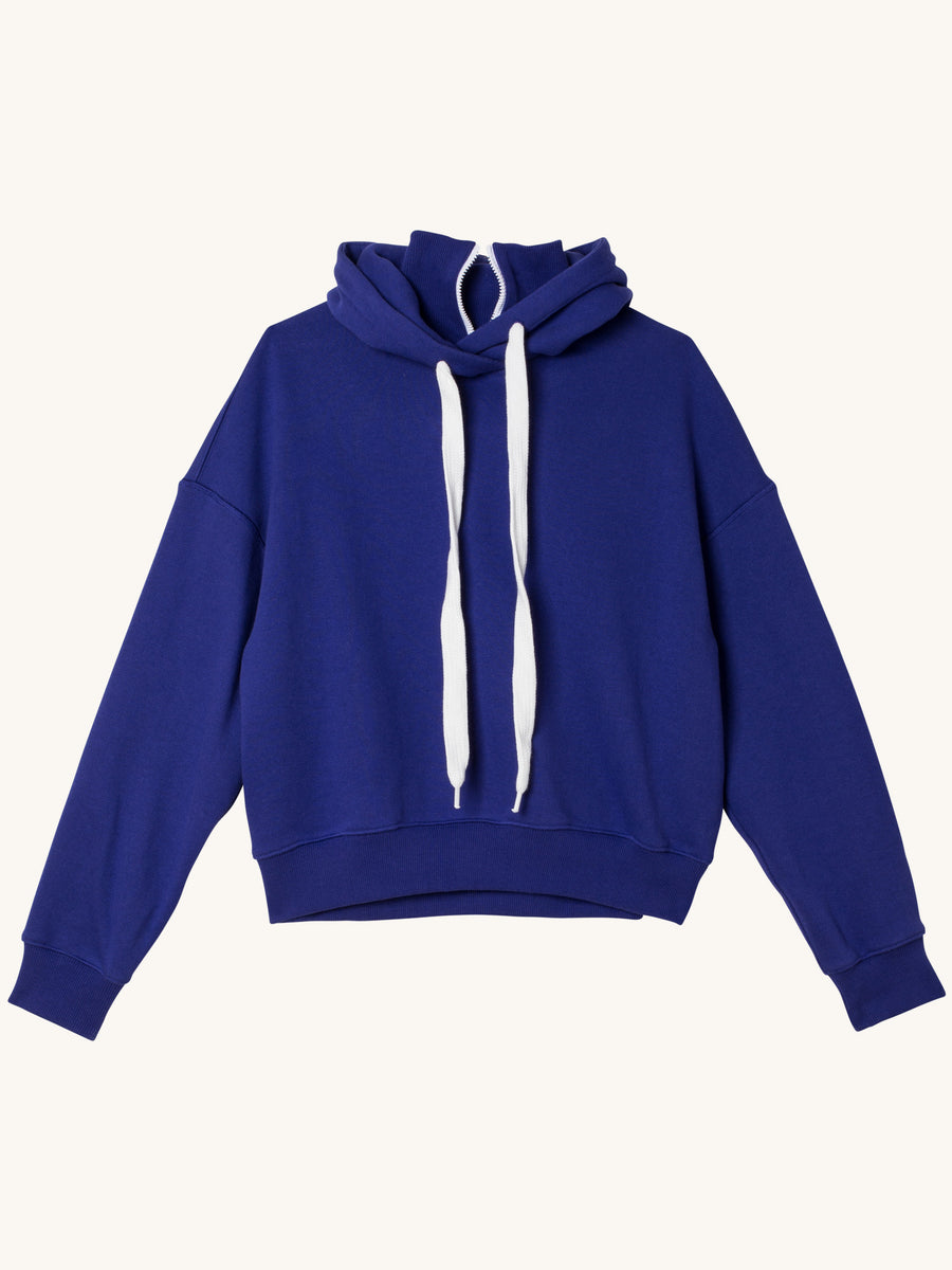 Dropped Shoulder High Neck Hooded Top