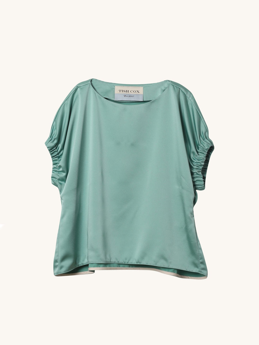 Satin Crepe Kloe Top in Mint