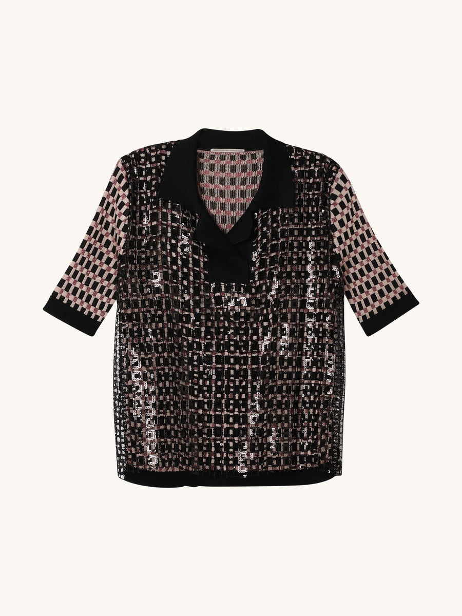 Quardretti Rete Top in Black Multi