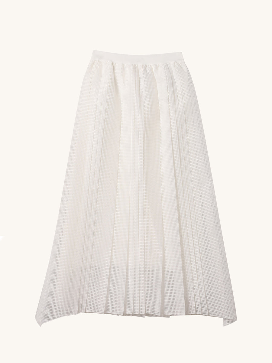 Mesh Skirt in White
