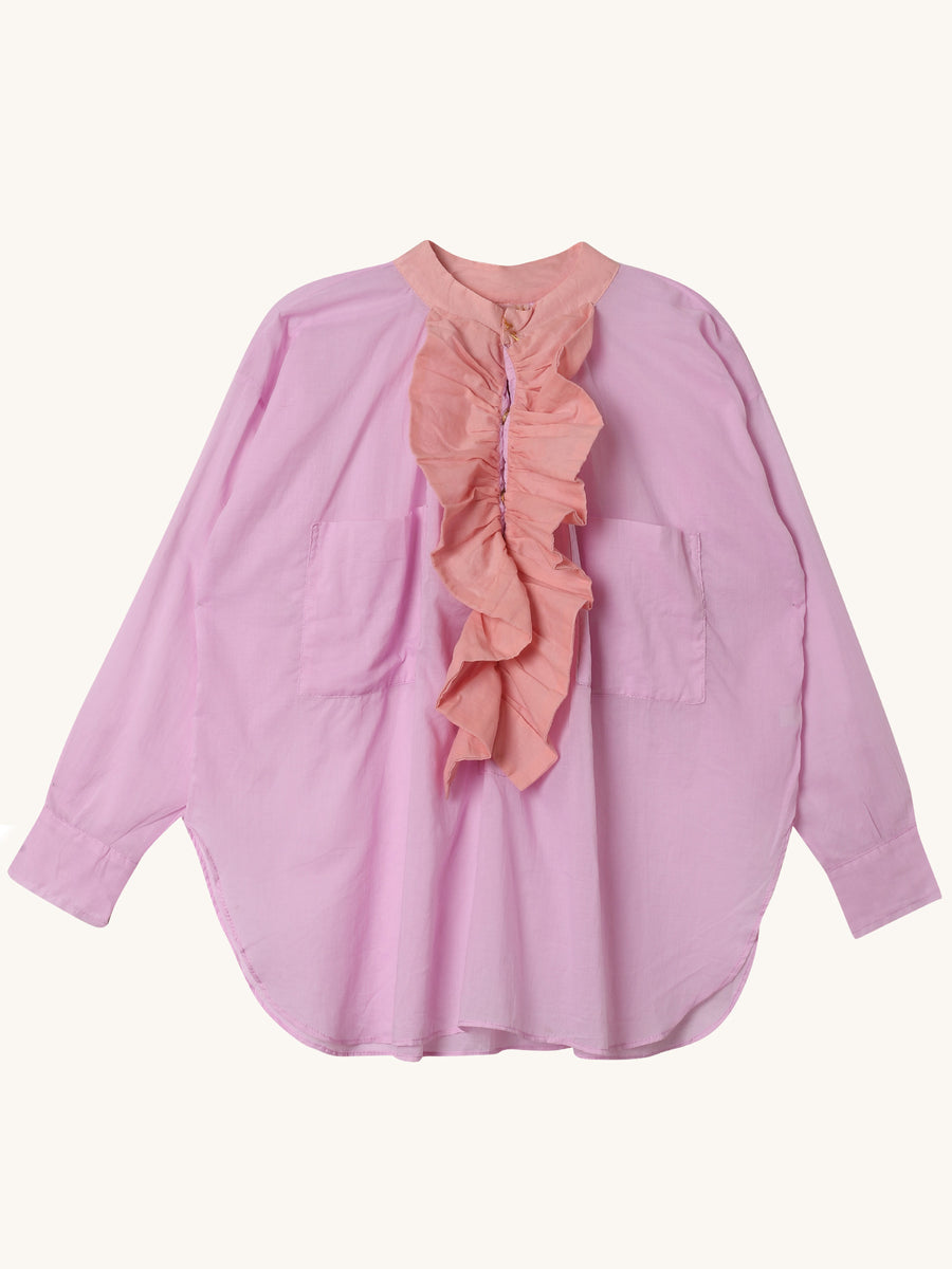 Frill Shirt in Pink & Peach