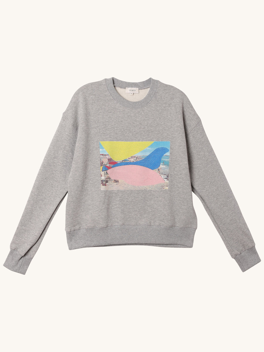 Abstract Printed Boxy Sweatshirt