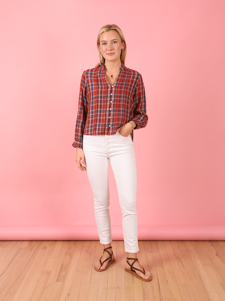 Plaid Finley Pintuck Top