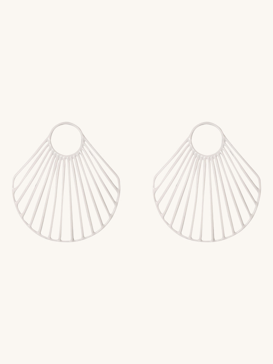 White Large Clam Shell Earrings