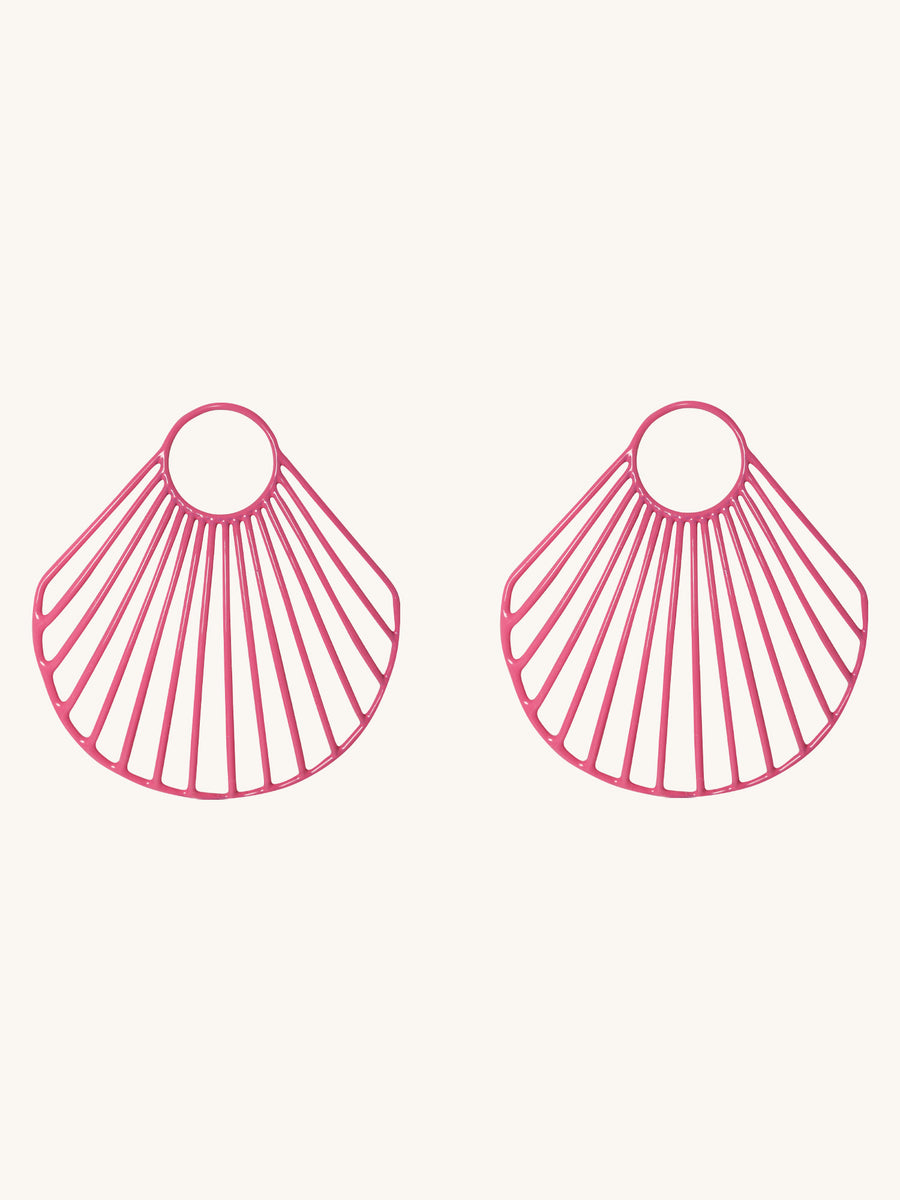 Pink Large Clam Shell Earrings