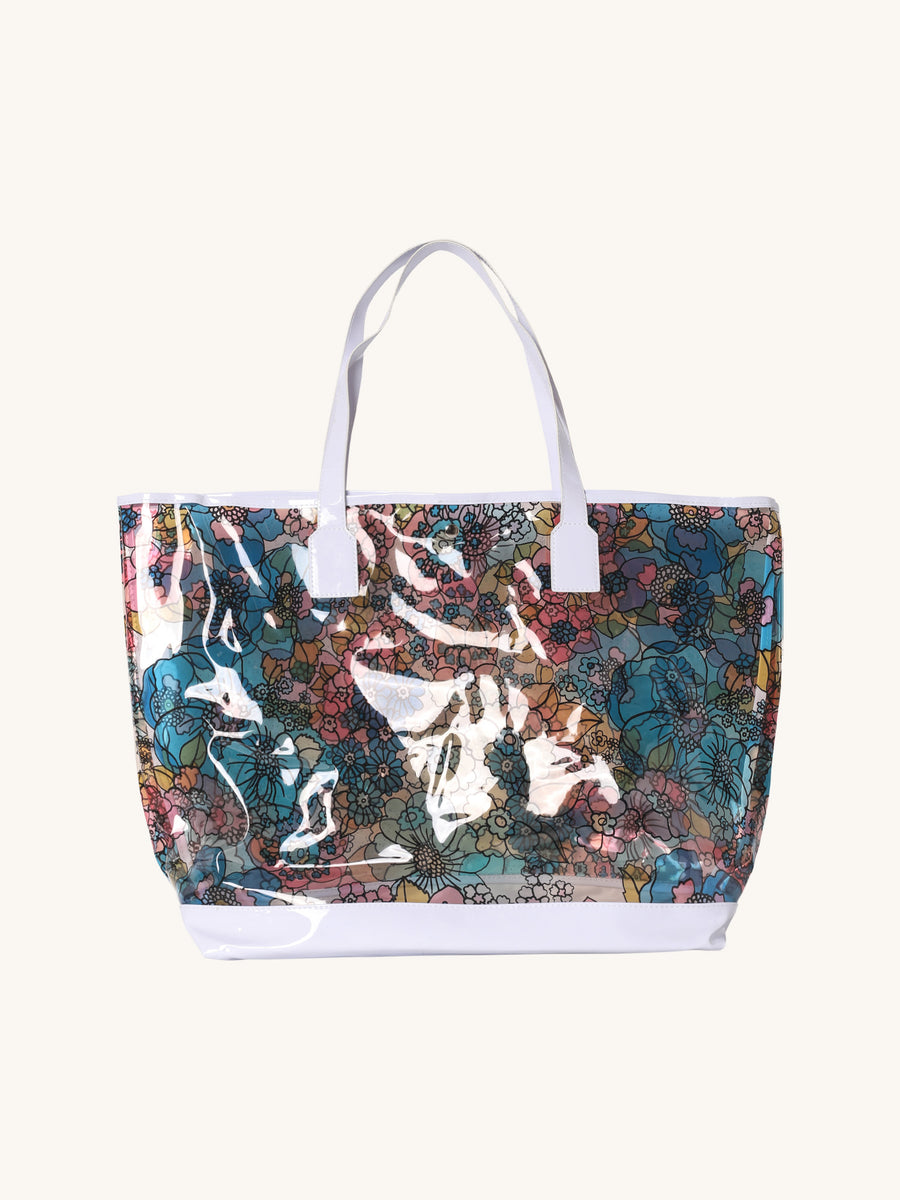Floral Beach Tote in Blue