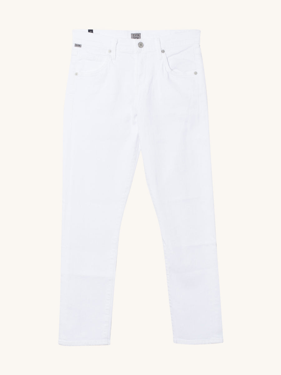 Elsa Mid Rise Slim Fit Crop in Optic White