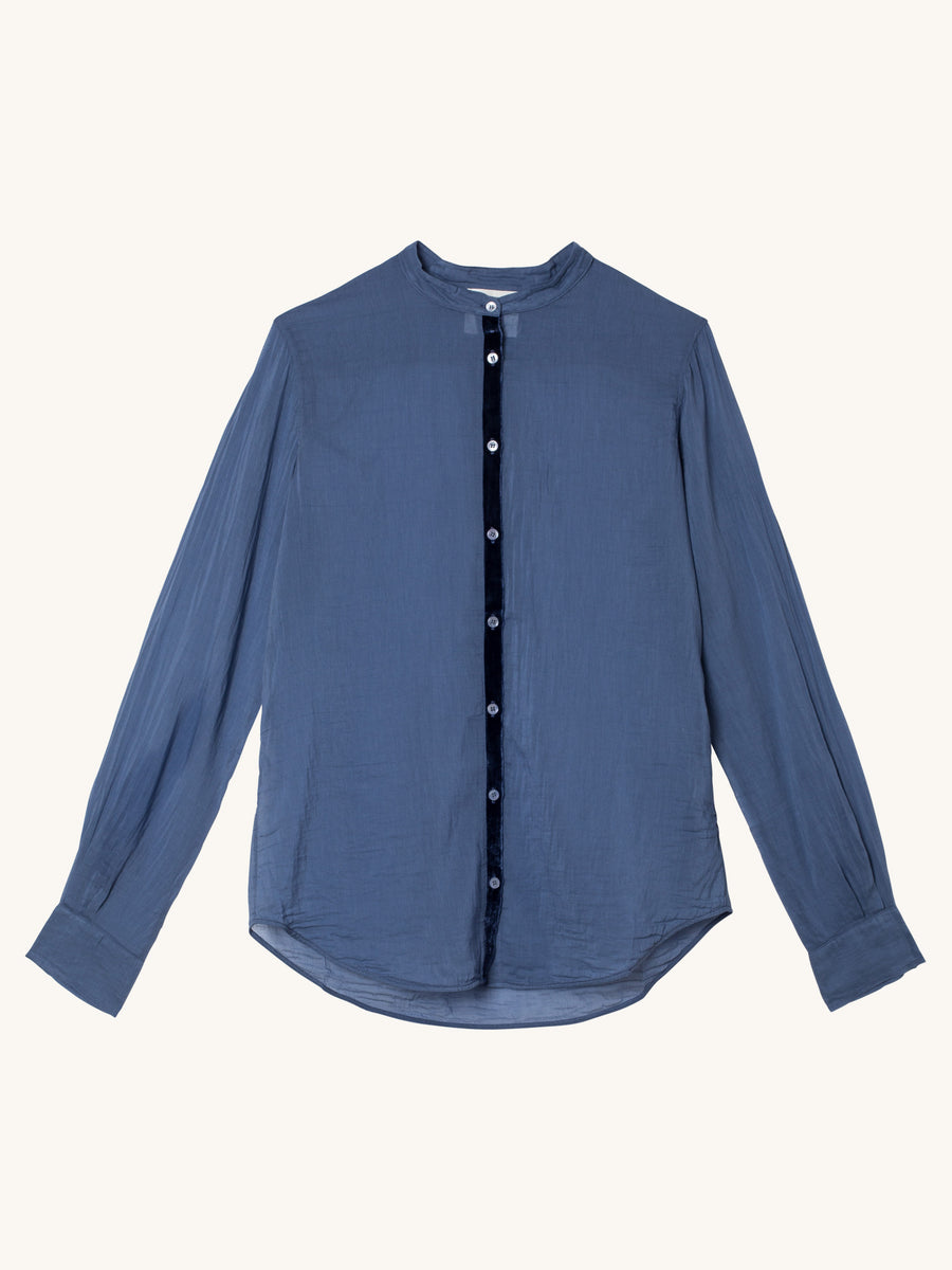 My Shirt Voile Grandfather Shirt in Mare