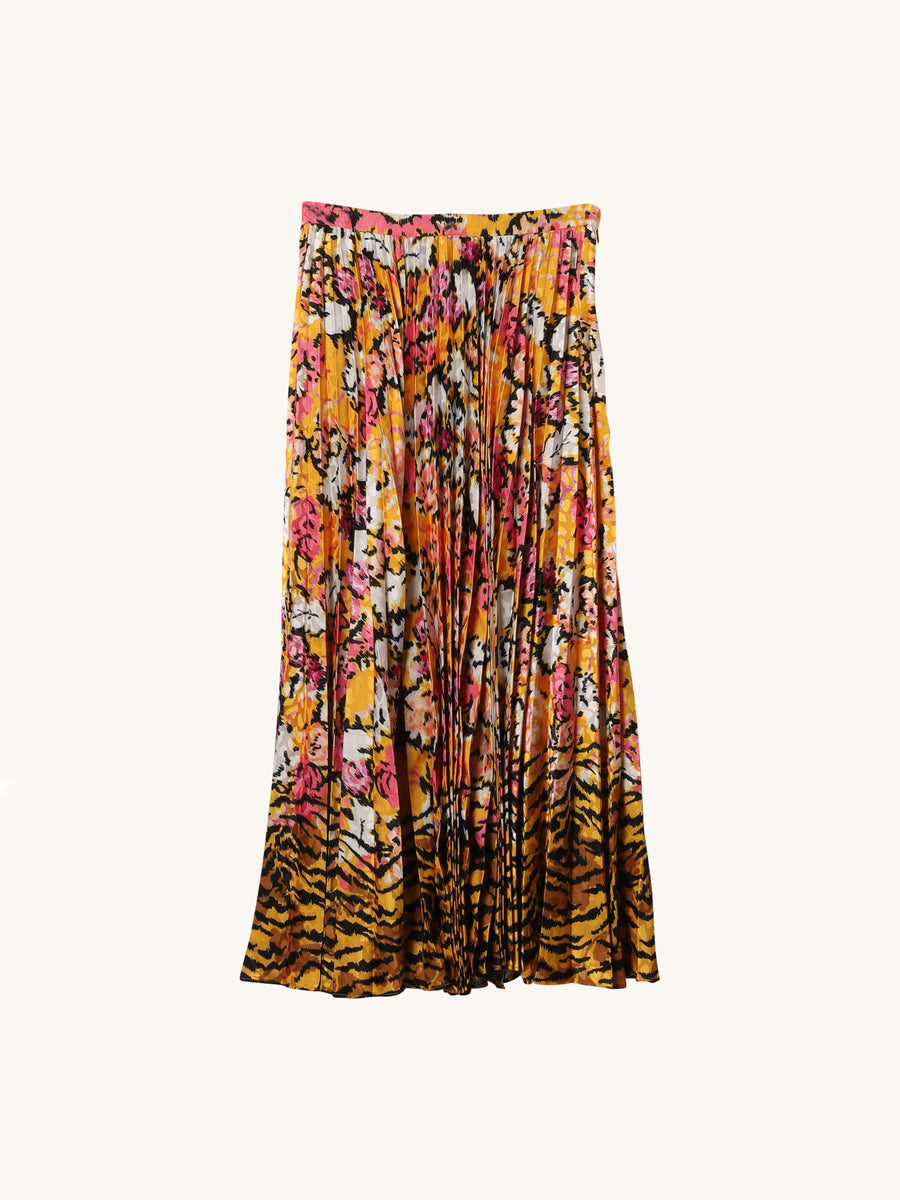 Kim Tiger Floral Pleated Midi Skirt