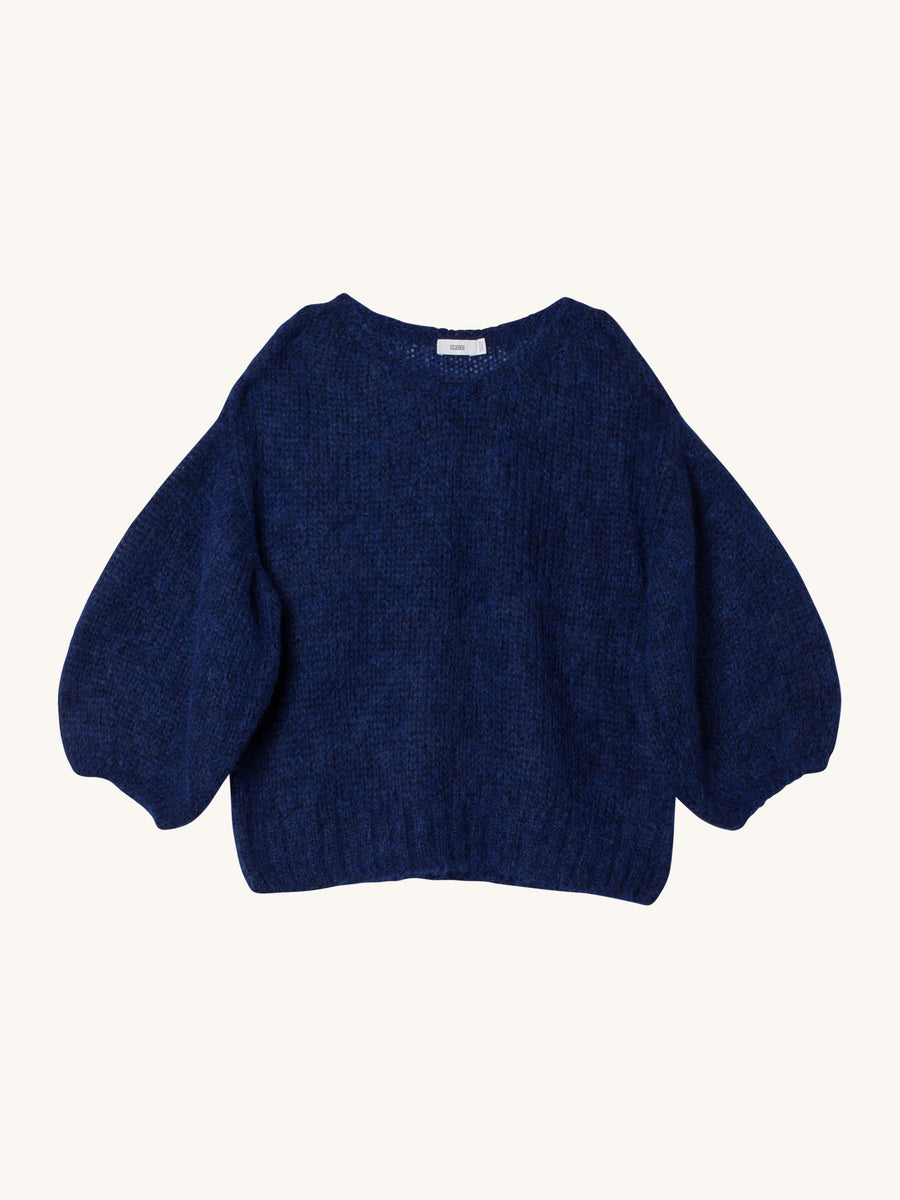 Wool Mix Sweater in Japanese Blue
