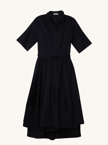 Flared Dress in Navy