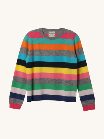 Multi Stripe Split Crew Sweater
