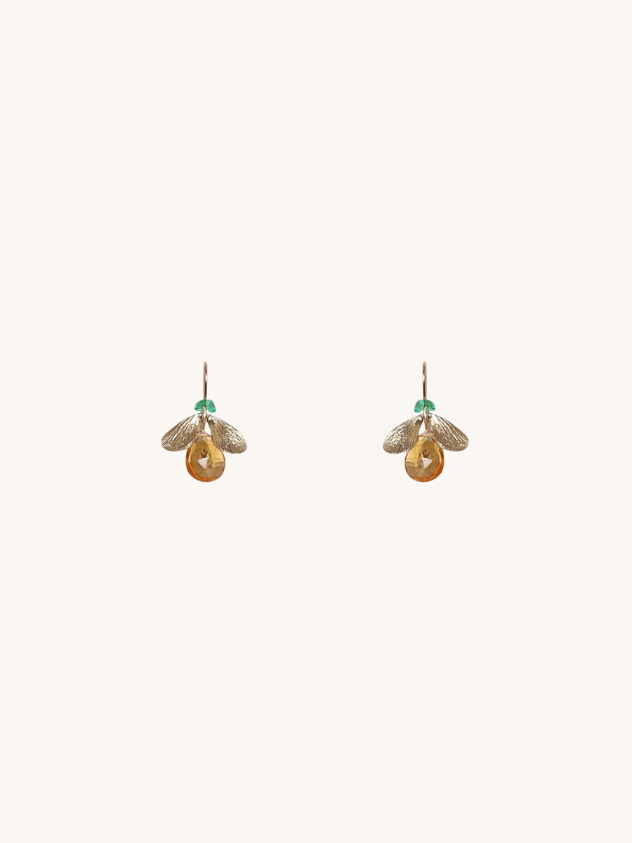 Bug Earrings in Citrine & Emerald