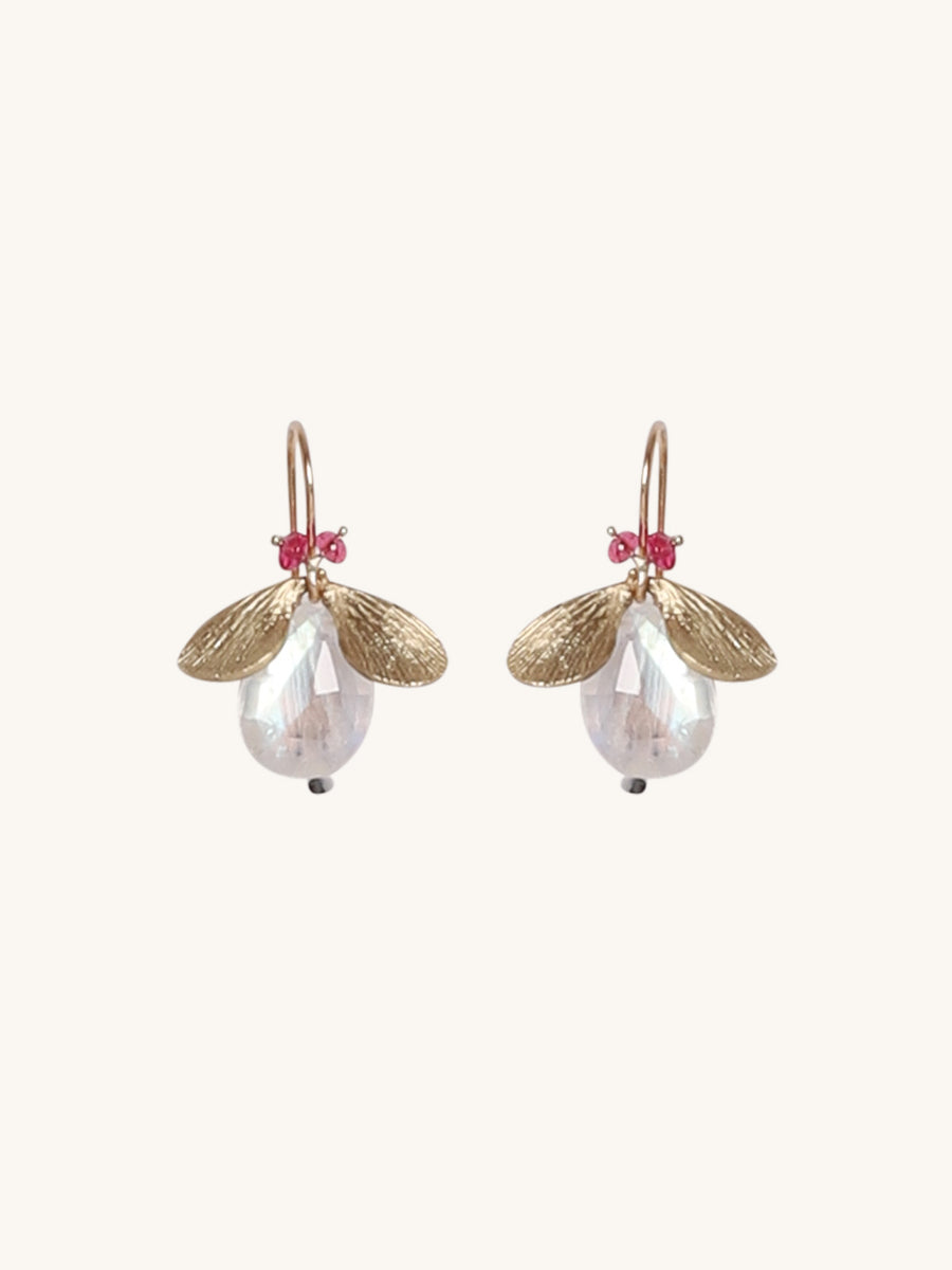 Bug Earrings in Moonstone & Pink Tourmaline