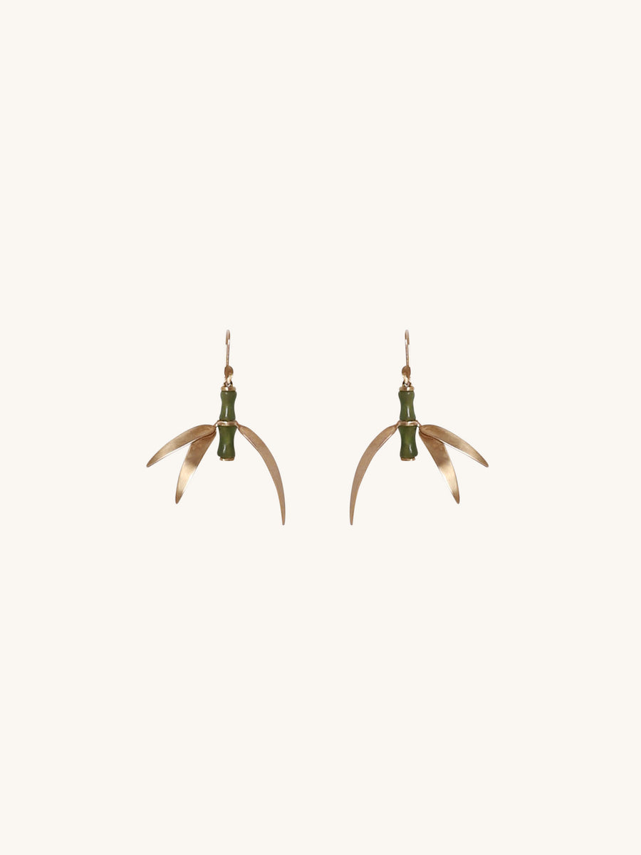 Curved Jade Bamboo Earrings