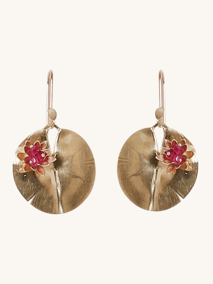 Medium Lily Pad Earrings in Ruby