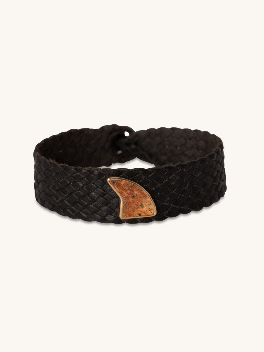 Fossilized Wood Shark Fin & Woven Leather Bracelet
