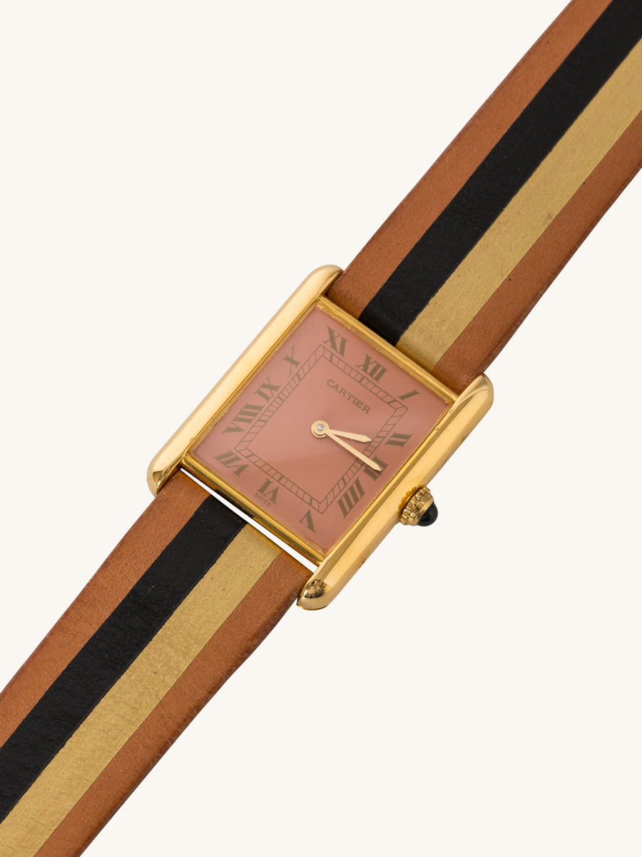 Peach Gilt Roxy Cartier Tank Watch