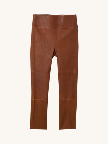 Cognac 3/4 Capri Leather Legging
