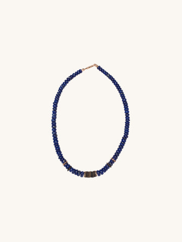 Navy Glass & Coconut Shell Puka Necklace