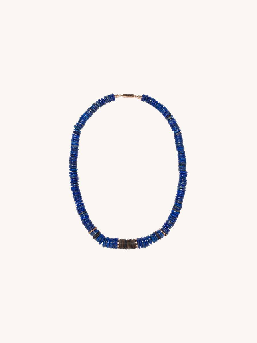 Lapis & Coconut Shell Puka Necklace