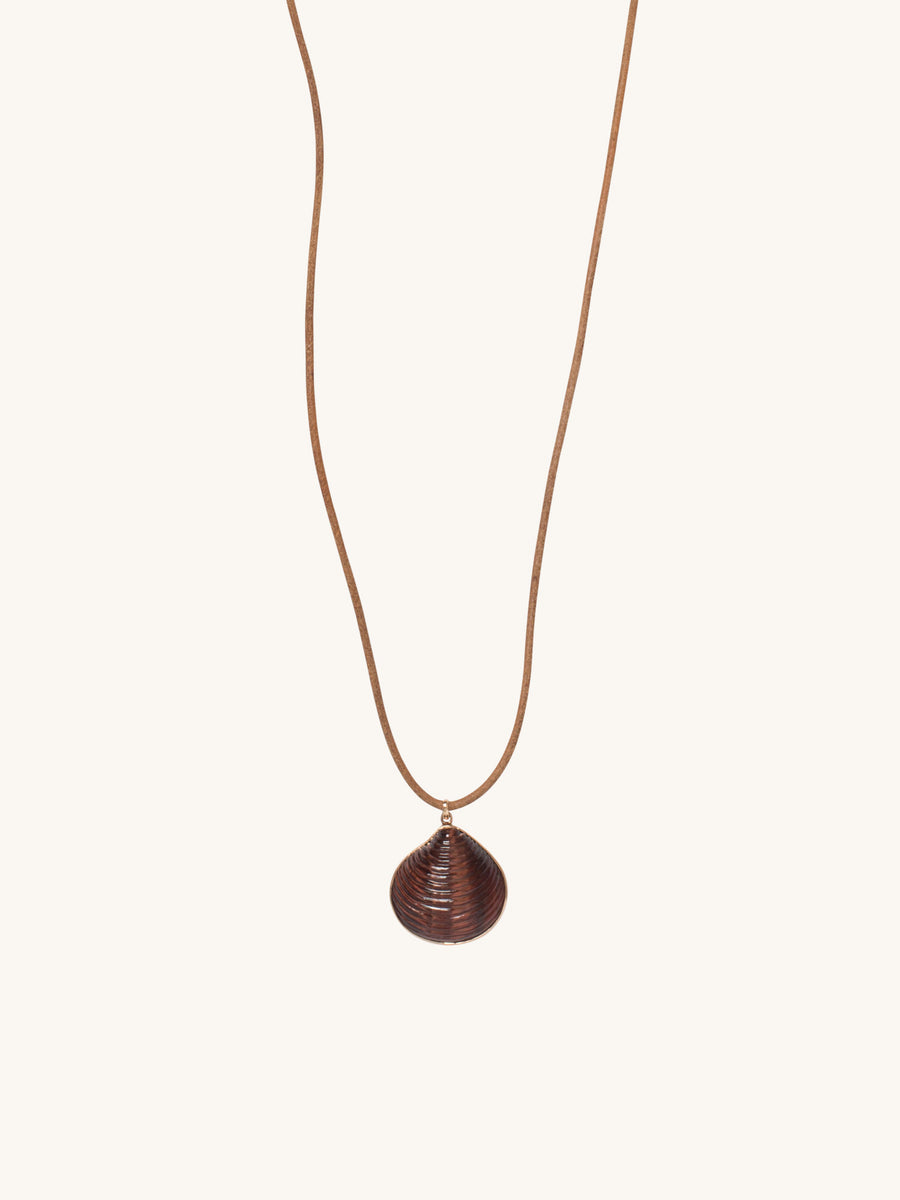 Medium Venus Charm in Red Tiger Eye on Leather Cord Necklace