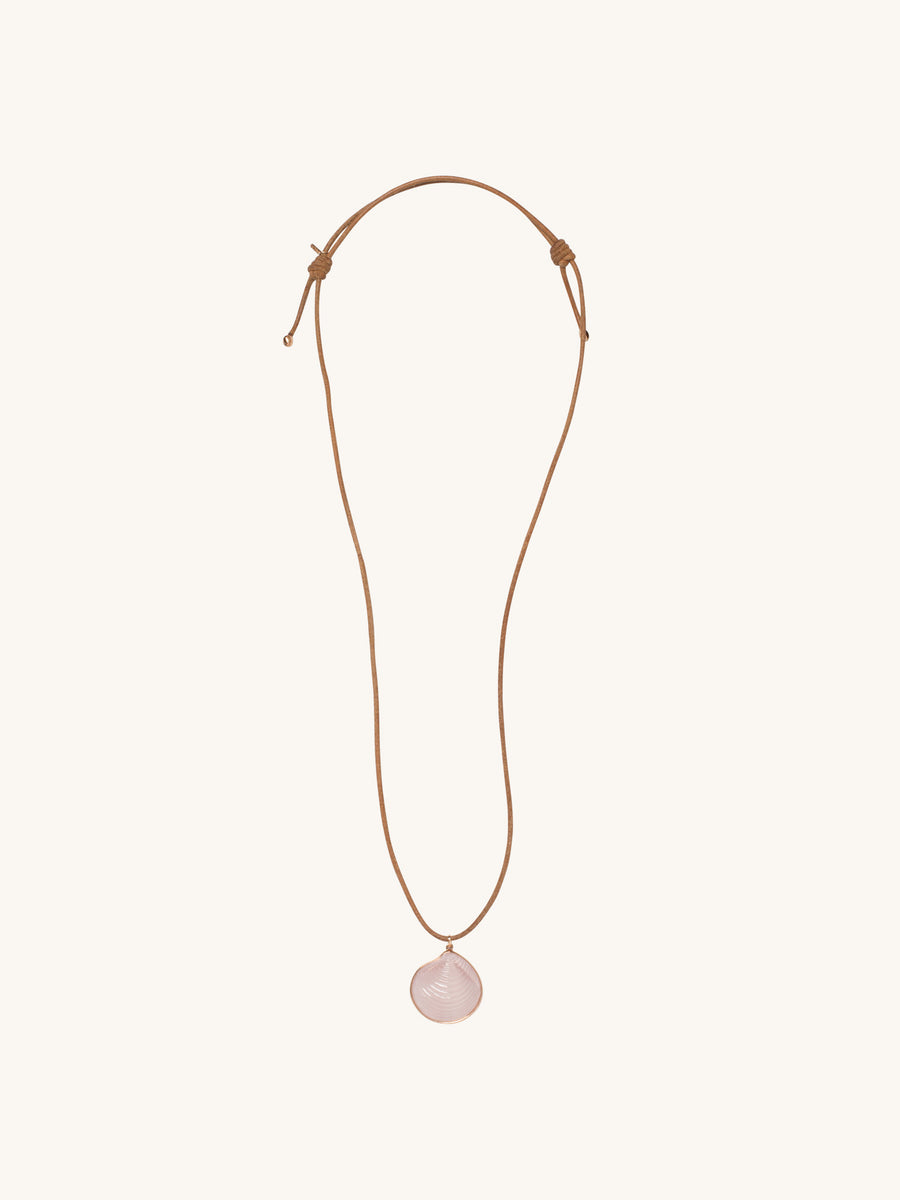 Medium Venus Charm in Rose Quartz on Leather Cord Neckalce