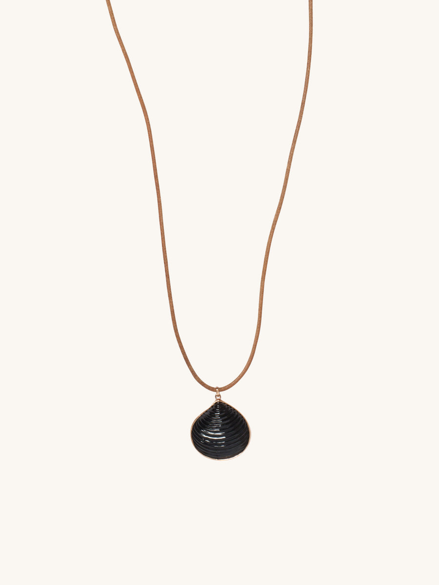 Medium Venus Charm in Onyx on Leather Cord Necklace