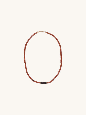Agate & Coconut Shell Puka Necklace