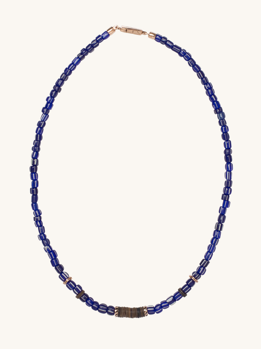 Cobalt/White Glass & Coconut Shell Puka Necklace
