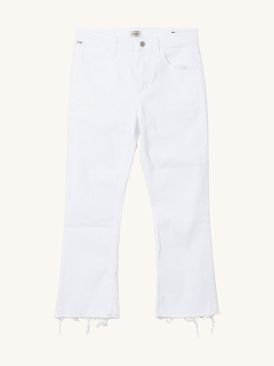 Drew Crop Flare in Distressed White