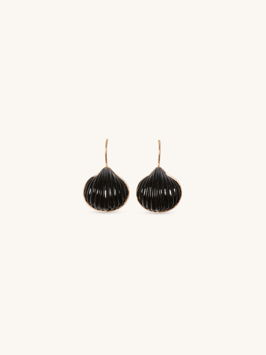 Carved Anadara Onyx Earrings