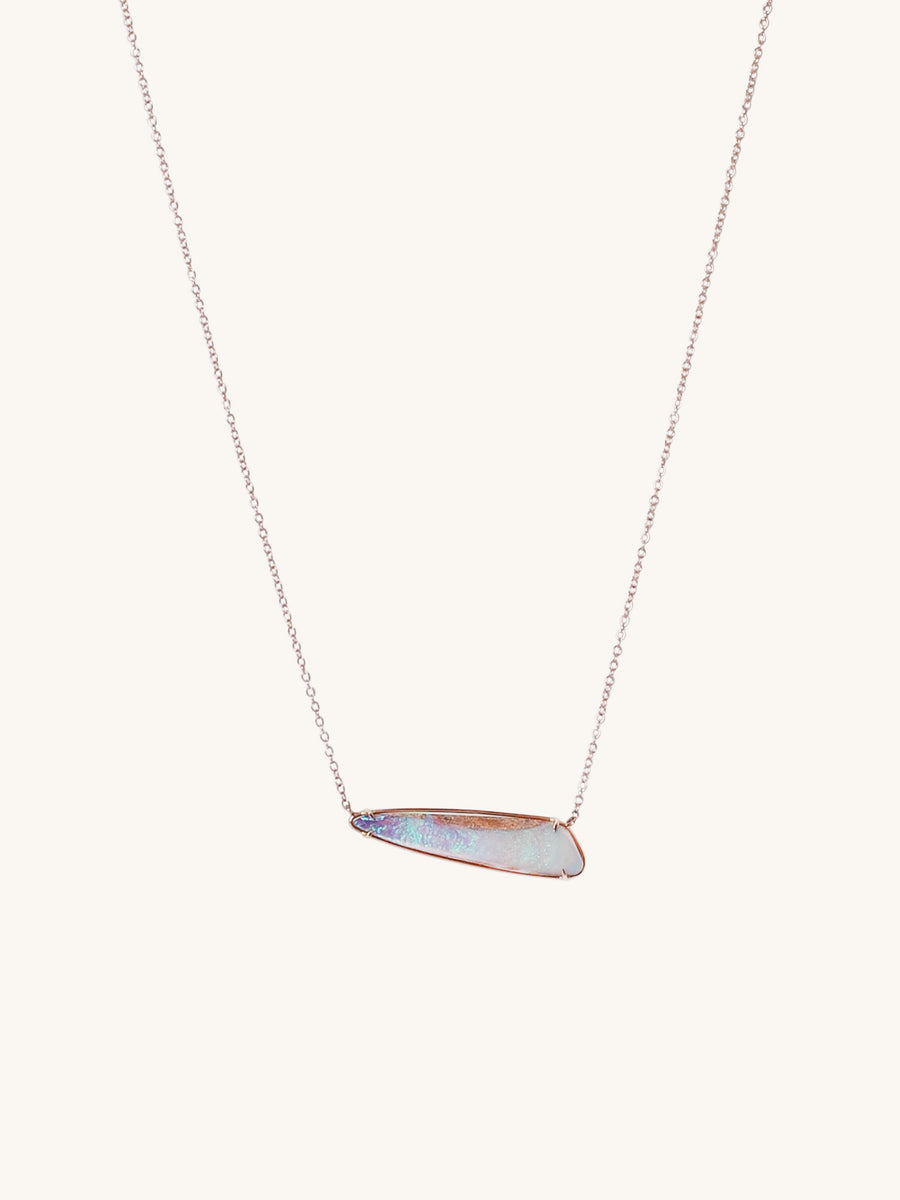 Rose Gold Horizontal Lavender Opal Necklace